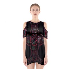 Fractal Red Cross On Black Background Shoulder Cutout One Piece