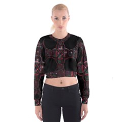 Fractal Red Cross On Black Background Women s Cropped Sweatshirt