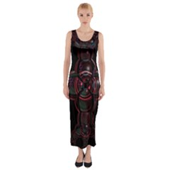 Fractal Red Cross On Black Background Fitted Maxi Dress