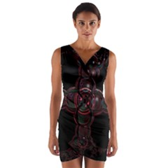 Fractal Red Cross On Black Background Wrap Front Bodycon Dress