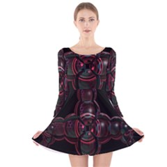 Fractal Red Cross On Black Background Long Sleeve Velvet Skater Dress