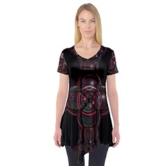 Fractal Red Cross On Black Background Short Sleeve Tunic