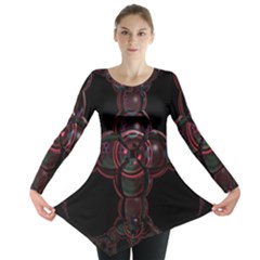 Fractal Red Cross On Black Background Long Sleeve Tunic