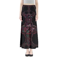 Fractal Red Cross On Black Background Maxi Skirts