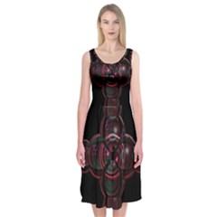 Fractal Red Cross On Black Background Midi Sleeveless Dress