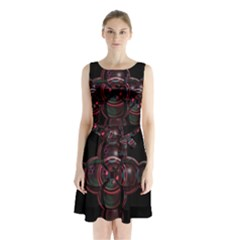 Fractal Red Cross On Black Background Sleeveless Chiffon Waist Tie Dress