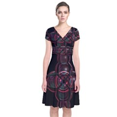 Fractal Red Cross On Black Background Short Sleeve Front Wrap Dress