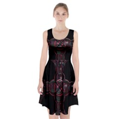 Fractal Red Cross On Black Background Racerback Midi Dress