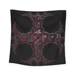 Fractal Red Cross On Black Background Square Tapestry (small)