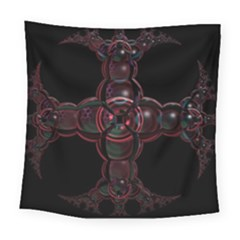 Fractal Red Cross On Black Background Square Tapestry (large)