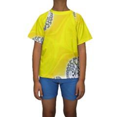 Fractal Abstract Background Kids  Short Sleeve Swimwear