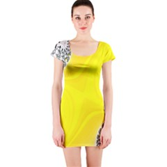 Fractal Abstract Background Short Sleeve Bodycon Dress