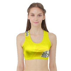 Fractal Abstract Background Sports Bra with Border