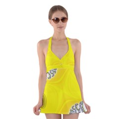 Fractal Abstract Background Halter Swimsuit Dress