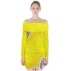 Fractal Abstract Background Long Sleeve Off Shoulder Dress