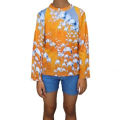 Bubbles Background Kids  Long Sleeve Swimwear