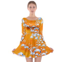 Bubbles Background Long Sleeve Skater Dress
