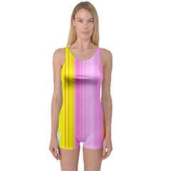 Multi Colored Bright Stripes Striped Background Wallpaper One Piece Boyleg Swimsuit