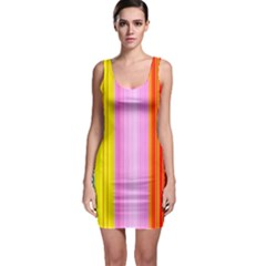 Multi Colored Bright Stripes Striped Background Wallpaper Sleeveless Bodycon Dress