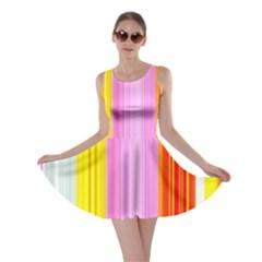 Multi Colored Bright Stripes Striped Background Wallpaper Skater Dress