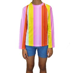 Multi Colored Bright Stripes Striped Background Wallpaper Kids  Long Sleeve Swimwear