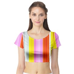 Multi Colored Bright Stripes Striped Background Wallpaper Short Sleeve Crop Top (Tight Fit)