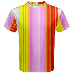 Multi Colored Bright Stripes Striped Background Wallpaper Men s Cotton Tee