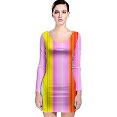 Multi Colored Bright Stripes Striped Background Wallpaper Long Sleeve Bodycon Dress