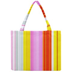 Multi Colored Bright Stripes Striped Background Wallpaper Mini Tote Bag