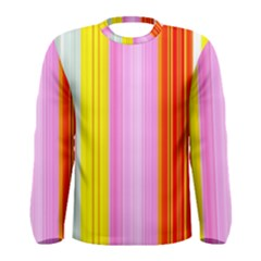 Multi Colored Bright Stripes Striped Background Wallpaper Men s Long Sleeve Tee