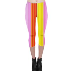 Multi Colored Bright Stripes Striped Background Wallpaper Capri Leggings