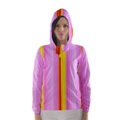 Multi Colored Bright Stripes Striped Background Wallpaper Hooded Wind Breaker (women)