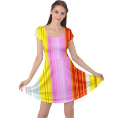 Multi Colored Bright Stripes Striped Background Wallpaper Cap Sleeve Dresses