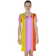 Multi Colored Bright Stripes Striped Background Wallpaper Short Sleeve Nightdress