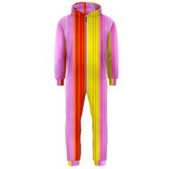 Multi Colored Bright Stripes Striped Background Wallpaper Hooded Jumpsuit (Men)