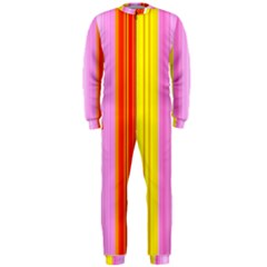Multi Colored Bright Stripes Striped Background Wallpaper Onepiece Jumpsuit (men)