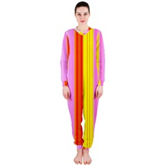 Multi Colored Bright Stripes Striped Background Wallpaper Onepiece Jumpsuit (ladies)