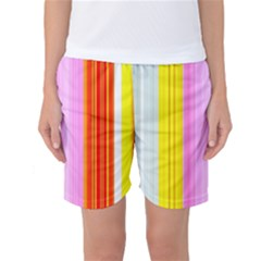 Multi Colored Bright Stripes Striped Background Wallpaper Women s Basketball Shorts