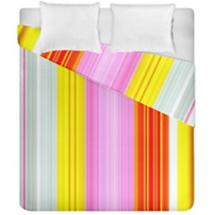 Multi Colored Bright Stripes Striped Background Wallpaper Duvet Cover Double Side (california King Size)