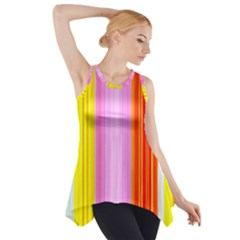 Multi Colored Bright Stripes Striped Background Wallpaper Side Drop Tank Tunic