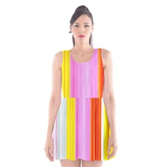 Multi Colored Bright Stripes Striped Background Wallpaper Scoop Neck Skater Dress