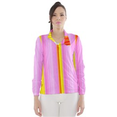 Multi Colored Bright Stripes Striped Background Wallpaper Wind Breaker (Women)