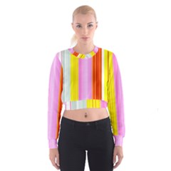 Multi Colored Bright Stripes Striped Background Wallpaper Women s Cropped Sweatshirt
