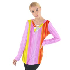 Multi Colored Bright Stripes Striped Background Wallpaper Women s Tie Up Tee