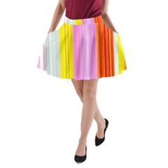 Multi Colored Bright Stripes Striped Background Wallpaper A-Line Pocket Skirt
