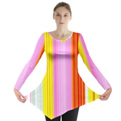 Multi Colored Bright Stripes Striped Background Wallpaper Long Sleeve Tunic