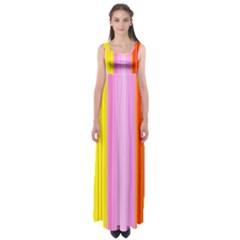 Multi Colored Bright Stripes Striped Background Wallpaper Empire Waist Maxi Dress