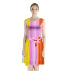 Multi Colored Bright Stripes Striped Background Wallpaper Sleeveless Chiffon Waist Tie Dress