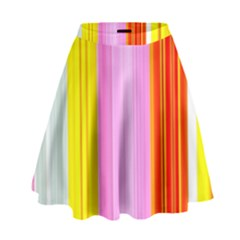 Multi Colored Bright Stripes Striped Background Wallpaper High Waist Skirt