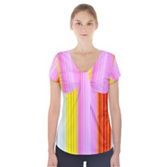 Multi Colored Bright Stripes Striped Background Wallpaper Short Sleeve Front Detail Top